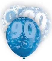 Blue Glitz Age 90 Latex Balloons (6)
